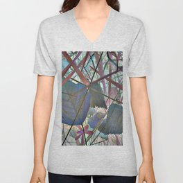 Leaves in abstraction with blue and red tint Unisex V-Neck