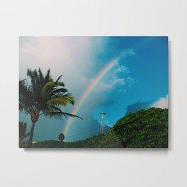 Maui Palm Tree Rainbow Metal Print