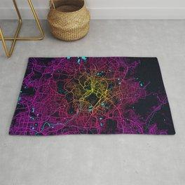 Kuala Lumpur City Map of Malaysia - Neon Lights Rug