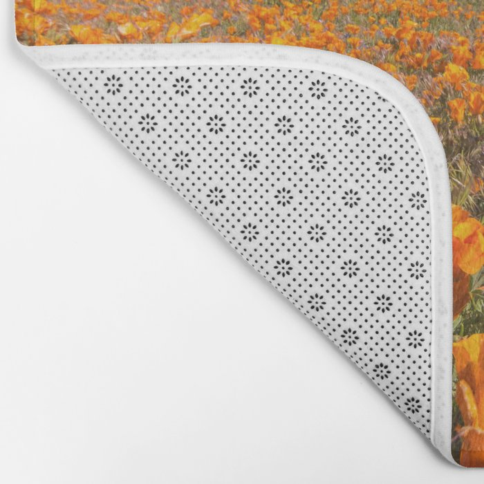 Blooming poppies in Antelope Valley Poppy Reserve Bath Mat