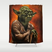 jedi Shower Curtains featuring Master Jedi Yoda by Wesley S Abney