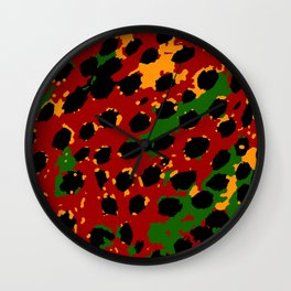 Cheetah Spots in Red, Yellow and Green Wall Clock