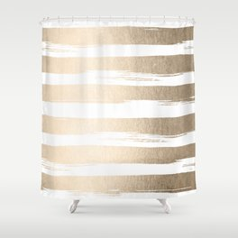 White Gold Sands Painted Thick Stripes Shower Curtain