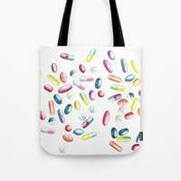 pills Tote Bags featuring Pills by kristinesarleyart