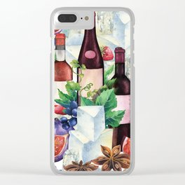 Watercolor wine glasses and bottles decorated with delicious food Clear iPhone Case