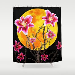 EXOTIC FUCHSIA STAR GAZER PINK LILIES MOON ART Shower Curtain