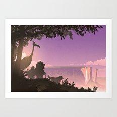 Paradise Falls at Dusk Art Print