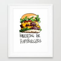 hamburger Framed Art Prints featuring Hamburger by Let's Make Food Babies
