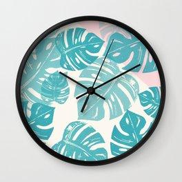 Linocut Monstera Rosy Wall Clock