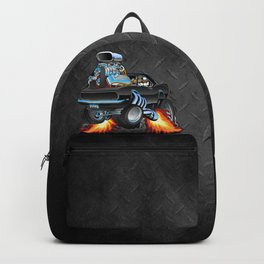 Classic Sixties American Muscle Car Popping a Wheelie Cartoon Illustration Backpack