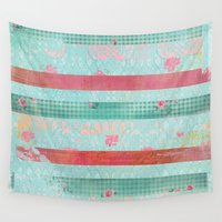 girly Wall Tapestries featuring Girly Vintage by MJ'designs - Marosée Créations