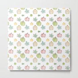 Pumpkin Pattern on White Background Metal Print