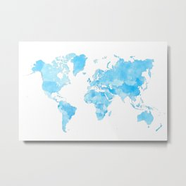 Distressed vintage world map in shades of blue Metal Print