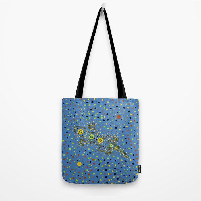 Lizard- aboriginal in blue Tote Bag
