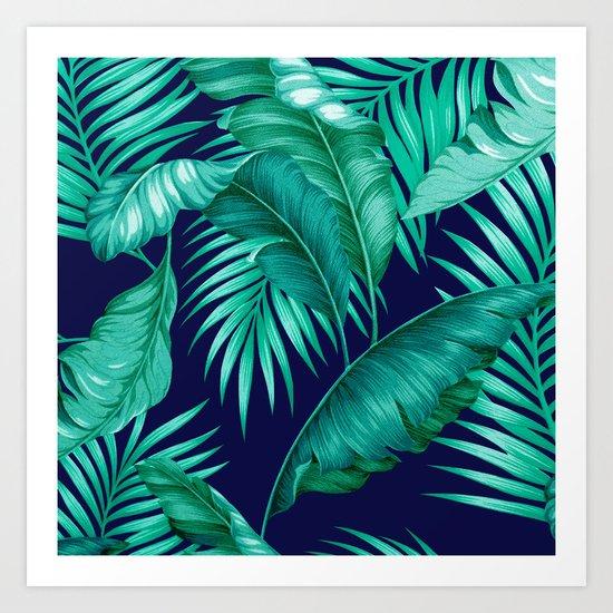 HAWAIIAN GARDEN TROPICAL LEAVES   turquoise navy Art Print
