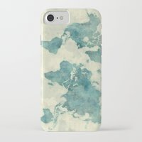 vintage map iPhone & iPod Cases featuring World Map Blue Vintage by City Art Posters