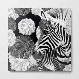 ZEBRA AND CABBAGE ROSES BLACK AND WHITE Metal Print