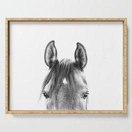 peekaboo horse, bw horse print, horse photo, equestrian print, equestrian photo, equestrian decor Serving Tray