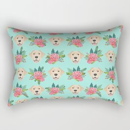 Yellow Labrador Retriever floral bouquet flowers yellow lab dog breed pattern gifts Rectangular Pillow