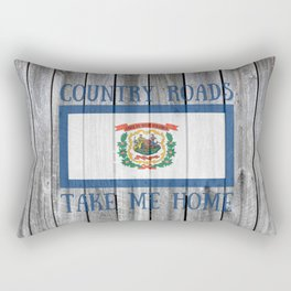 West Virginia State Flag Country Roads Barn Wall Rustic Print Rectangular Pillow
