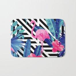 Tropical Pink Flamingo Pattern Bath Mat