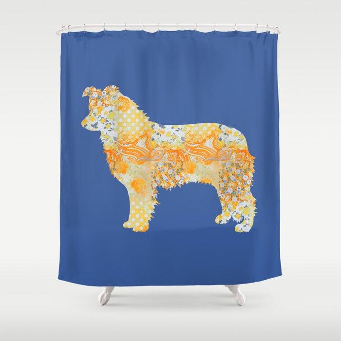 Border Collie Vintage Floral Pattern Orange Blue Yellow White Shower Curtain