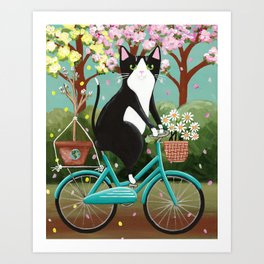 Earth Day Bicycle Cat Art Print