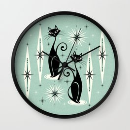 Mid Century Meow Retro Atomic Cats Mint Wall Clock