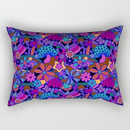 70's Psychedelic Garden in Cool Jeweltone Rectangular Pillow
