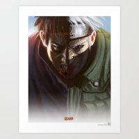 kakashi Art Prints featuring Kakashi X Obito by ImmarArt