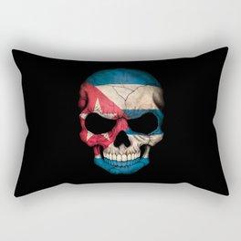 Dark Skull with Flag of Cuba Rectangular Pillow