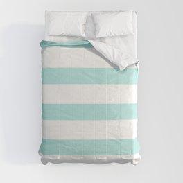 Aqua blue and White stripes lines - horizontal Comforters