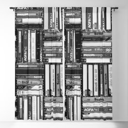 Music Cassette Stacks - Black and White - Something Nostalgic IV #decor #society6 #buyart Blackout Curtain