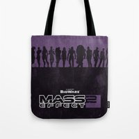 mass effect Tote Bags featuring Mass Effect 2 by Bill Pyle