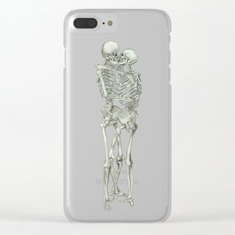 Love, kissing couple, skeleton, anatomy, human, kiss, relationship, marriage Clear iPhone Case