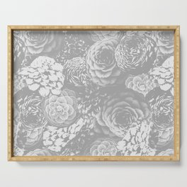 Moody Florals in Grey Serving Tray