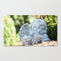 Dreaming angel in the garden Canvas Print