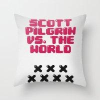 scott pilgrim Throw Pillows featuring Scott Pilgrim vs. The World by Martin Lucas