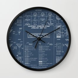 COCKTAIL CHART blueprint Wall Clock