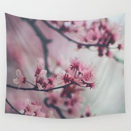 Pink Cherry Blossom On Branch Wall Tapestry
