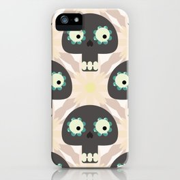 Cute pattern with funny skulls and flowers iPhone Case
