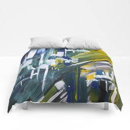 Green Blue Yellow Abstract 1 Comforters