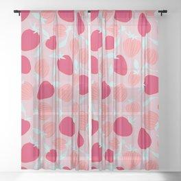 Strawberry pattern on pink background, tutti fruti trend Sheer Curtain