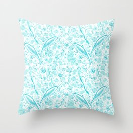 Mermaid Toile - Teal Throw Pillow