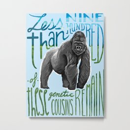 Mountain Gorilla: Critically Endangered Metal Print