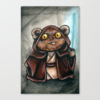 ewok Canvas Prints featuring Ewok Jedi by Megan Mars