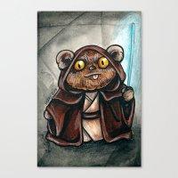 jedi Canvas Prints featuring Ewok Jedi by Megan Mars