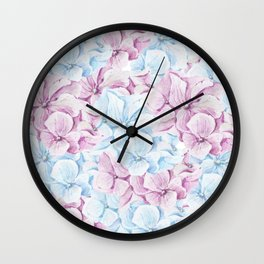 Hand painted teal blush pink watercolor elegant floral Wall Clock