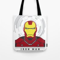 ironman Tote Bags featuring IRONMAN by Nuthon Design