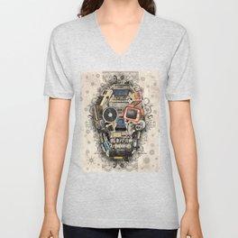 retro tech skull 2 Unisex V-Neck